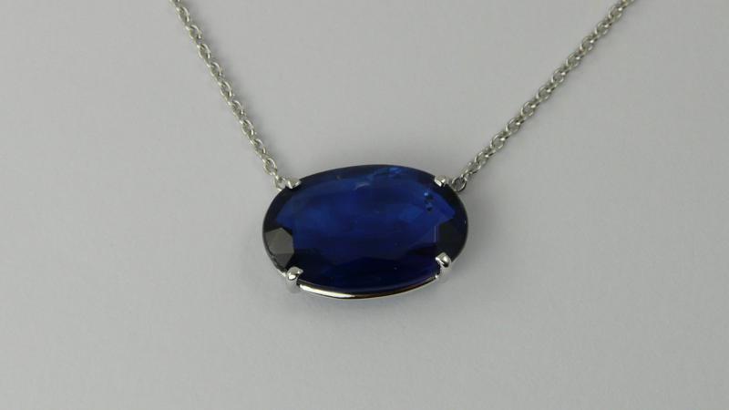 pendentif cyanite ovale diamants pierres pr cieuses et pierres fines bijoux cr ation caen. Black Bedroom Furniture Sets. Home Design Ideas