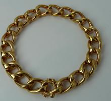 Or Bracelet massif maille gourmette